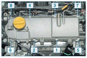 Порядок затяжки болтов крепления крышки головки блока цилиндров