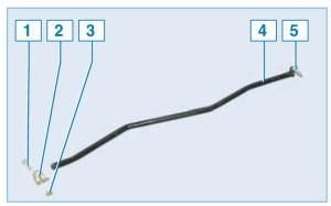 Тяга управления: 1 – стяжной болт; 2 – хомут; 3 – гайка; 4 – тяга; 5 – палец тяги