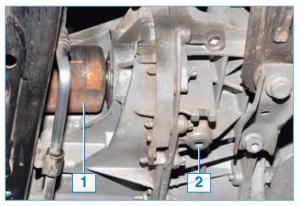 Вид на коробку передач: 1 – корпус внутреннего шарнира привода левого колеса; 2 – пробка сливного отверстия