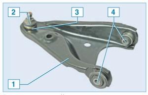 Рычаг передней подвески: 1 – рычаг; 2 – чехол опоры; 3 – шаровая опора; 4 – сайлент-блок