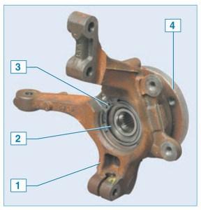 Ступичный узел переднего колеса: 1 – поворотный кулак; 2 – подшипник ступицы; 3 – установочное кольцо датчика скорости; 4 – ступица колеса