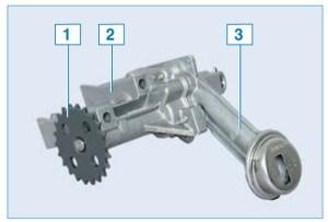 Масляный насос: 1 – ведомая звездочка привода; 2 – корпус насоса; 3 – крышка корпуса насоса с маслоприемником