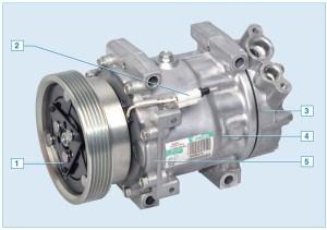 Компрессор кондиционера: 1 – шкив с электромагнитной муфтой; 2 – вывод провода электромагнитной муфты; 3 – задняя крышка; 4 – корпус; 5 – передняя крышка