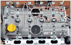 Нумерация болтов крепления крышки головки блока цилиндров