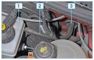 Элементы гидропривода сцепления: 1 – бачок главного тормозного цилиндра и цилиндра сцепления; 2 – трубка подвода жидкости к главному цилиндру сцепления; 3 – главный цилиндр сцепления