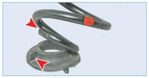 Монтируем пружину так, чтобы конец ее нижнего витка уперся в уступ прокладки (для наглядности показано на снятой прокладке)