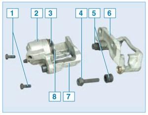 Элементы тормозного механизма переднего колеса: 1 – болт крепления скобы к направляющему пальцу; 2 – корпус колесного цилиндра; 3 – защитный чехол поршня; 4 – направляющий палец; 5 – защитный чехол направляющего пальца; 6 – направляющая колодок; 7 – суппорт; 8 – поршень