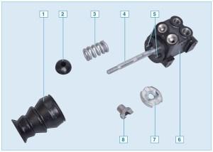 Детали регулятора давления тормозных механизмов задних колес: 1 – грязезащитный чехол; 2 – опорная втулка; 3 – пружина; 4 – шпилька регулятора давления; 5 – поршни регулятора давления; 6 – корпус регулятора давления; 7 – упорная шайба; 8 – направляющая втулка