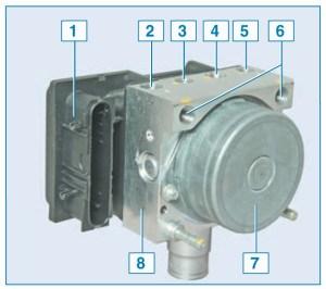 Блок ABS: 1 – блок управления; 2 – отверстие для подсоединения трубки тормозного механизма переднего правого колеса; 3 – отверстие для подсоединения трубки тормозного механизма заднего левого колеса; 4 – отверстие для подсоединения трубки тормозного механизма заднего правого колеса; 5 – отверстие для подсоединения трубки тормозного механизма переднего левого колеса; 6 – отверстие для подсоединения трубки главного тормозного цилиндра; 7 – насос; 8 – гидравлический блок