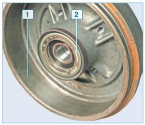 Расположение задающего диска датчика скорости вращения заднего колеса: 1 – барабан тормозного механизма; 2 – задающий диск датчика скорости