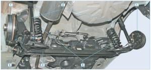 Задняя подвеска: 1 – барабан тормозного механизма; 2 – амортизатор; 3 – пружина; 4 – балка задней подвески; 5 – кронштейн крепления рычага балки к кузову