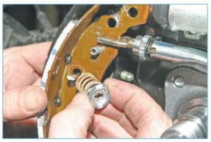 Снимаем чашку с пружиной и вынимаем опорную стойку из отверстия щита тормозного механизма