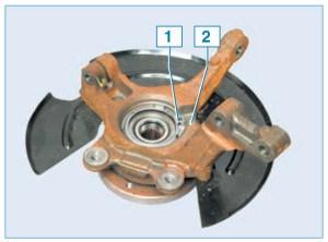 Ориентируем кольцо в отверстии кулака так, чтобы держатель датчика скорости на кольце 1 расположился в пазе кулака 2 (для наглядности показано на собранном ступичном узле)