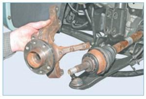 …и снимаем поворотный кулак в сборе со ступицей со шлицевого хвостовика корпуса наружного шарнира привода колеса